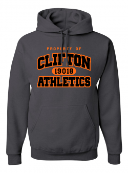 Clifton Athletics Charcoal Grey Hoodie with Orange and Black Logo - Art reads PROPERTY OF CLIFTON ATHLETICS with 19018 zip code in the middle