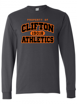 Clifton Athletics Charcoal Grey Long Sleeve Tee Shirt with Orange and Black Logo - Art reads PROPERTY OF CLIFTON ATHLETICS with 19018 zip code in the middle